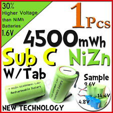 1 Sub C 4500mWh 1.6V Volt NiZn Rechargeable Battery Cell Pack With Tab Green