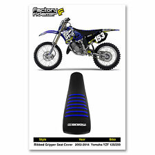 2002-2016 Yamaha YZ 125 250 SEAT COVER Ribbed GRIPPER  Black - Blue Ribs