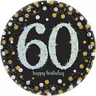 8 Gold Celebration Age 60 Paper Plates Silver Gold Black 60th Birthday tableware