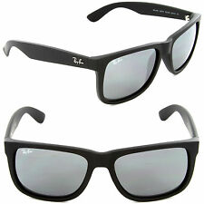 (NEW) Ray-Ban Justin RB 4165 622/6G 54mm Rubber Black / Grey Mirror Silver Lens