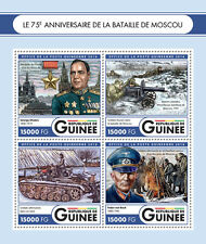 Guinea 2016 MNH WWII WW2 Battle of Moscow 4v M/S Zhukov Tanks Military Stamps