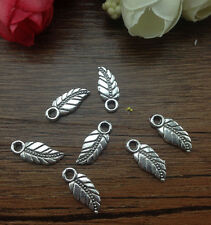 Wholesale 16pcs Tibet silver Leaf Charm Pendant beaded Jewelry Findings DIY F11