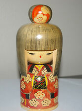 SIGNED BROWN HAIR LARGE KOKESHI GIRL DOLL WITH RED AND YELLOW  KIMONO