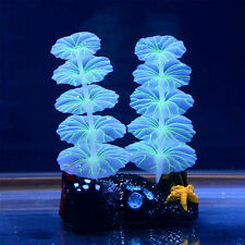 "1pcs Artificial 3.8""  Aquarium Fish Tank Luminous Night Lights Lotus Leaf Plants"