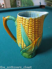 """English Majolica pitcher 7"""" decorated with corn and husks and blue interior[*]"""