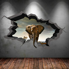 FULL COLOUR ELEPHANT SAFARI CAVE CRACKED 3D WALL ART STICKER DECAL MURAL 3