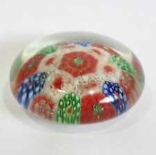 "Vintage Millefiori Paperweight Glass Art Red Green Blue White Floral 2"" Multi"