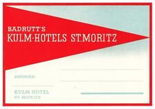 Badrutt's Kulm Hotels ST. MORITZ Switzerland luggage label Kofferaufkleber x0411