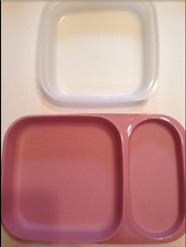 Tupperware Meal Mate Divided Plate Tray & Seal 1838(4) Dusty Pink Rose Mauve New