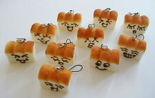 10 pc Assorted Face Squishy Loaves Bread Phone Charm Strap Set ~Loaf Toast~
