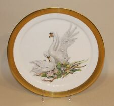 1972 Edward Marshall Boehm Bird of Peace Plate Mute Swans Gold Encrusted Border