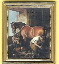 DOLL HOUSE  MINIATURE SHOEING HORSE PRINT PICTURE GOLD FRAME Jacqueline's