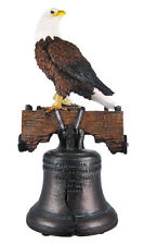 "Mighty Bald Eagle Perching on Liberty Bell Freedom Ring Figurine Large 18"" Tall"