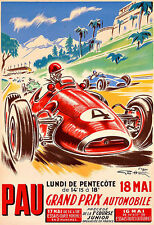 PAU  GRAND PRIX AUTOMOBILE1952 Automobile Car Race  Deco Auto  Poster Print
