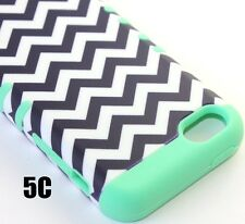 For iPhone 5C - HARD&SOFT RUBBER HYBRID ARMOR SKIN CASE COVER MINT GREEN CHEVRON