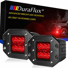 DuraFlux CREE LED Pod Fog Work Light Red 4D Optic Projector w Dually Flush Mount