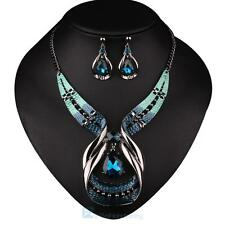 Women Crystal Statement Pendant Bib Necklace Earring Jewelry Set Xmas gift
