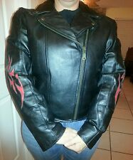 **Ladies size L motorcycle black jacket leather with red flames large **