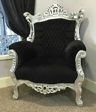 Silver Black Throne Chair Wedding Tub Armchair French Rococo