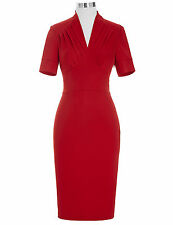 Womens Retro Vintage Style 40's 50's Pin Up Bodycon Business Wiggle Pencil Dress