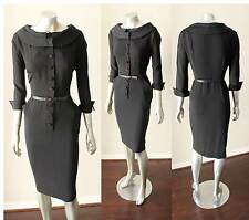 Sheath Belted VIntage 40s 50s Knee Lnegth Button Puritan Collar Black Dress M