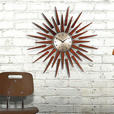 George Nelson Mid Century Modern Starburst Wood & Metal Wall Clock