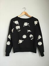 SANCTUARY Cute Quilted Flower Embroidered Crewneck Sweater Pullover XS Black $98