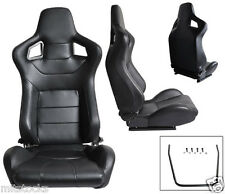 2 BLACK LEATHER RACING SEATS RECLINABLE + SLIDERS VOLKSWAGEN NEW **