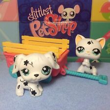Littlest Pet Shop lot #547 & 469 White & Black Flower Dalmatian Dog w/ Cat Pal