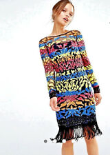 Woman Clothes Maya Long Sleeve Dress Multu Color Sequin Mini With Tassel Hem