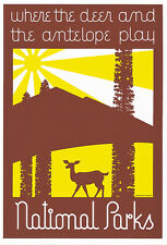 WPA Serigraph Park Poster-Where the Deer and Antelope