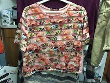 Primark Ladies Pink Floral Striped Sheer Cropped Top Size 16