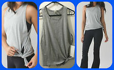 NWT LULULEMON Tie & Go Tank Size 4 Heathered Gray Fitness & Yoga Sold Out!