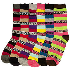 6 Pairs Women Comfort Socks Girls Cross Pattern Stripe Long Crew Pack 9-11 Lot