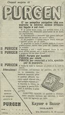 W3355 PURGEN il purgativo ideale - Kayser e Bauer - Pubblicità 1910 - Advertis.