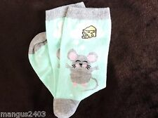 LADIES HIGH QUALITY CUTE GREY MOUSE DREAMING OF CHEESE GIFT SOCKS COTTON RICH