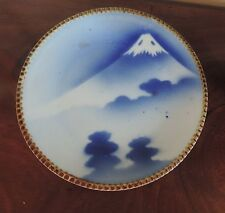 Antique Japanese Porcelain Plate Mount Fuji Blue & White Imari 19th 20th c.