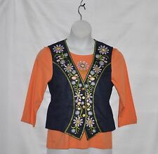 Bob Mackie Flower Embroidered Vest &T-shirt Set Size S Coral /Blue