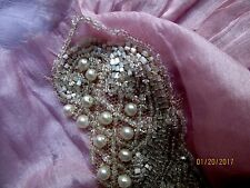 ANTIQUE EDWARDIAN TINY CRYSTAL PEARLESCENT BEAD GLASS PEARL LACE WEDDING TRIM PC