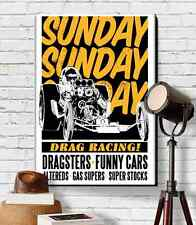 "Vintage Dragster Graphic Art Print Canvas 18""X24"" Drag Racing Car Guy Gift"