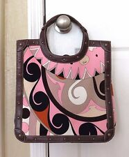 EMILIO PUCCI LEATHER corduroy FABRIC TOTE purse bag pink brown shopper