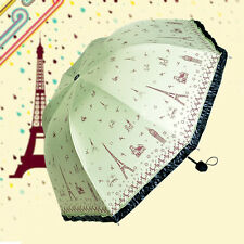 On Sale Women Anti UV Parasol Eiffel Tower Print Folding Rain Umbrella Green