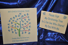 "12"" x12"" Boy Christening tree Personalised Alternative Guest Book NO INKS"