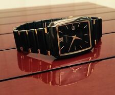 Pulsar Mens Ceramic look Dress Watch Mineral glass RRP £99 Black & Gold NEW (pu6