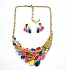 Lady Jewellery Popular Fashion Colorful Nice Flower Bib Necklace Earring 1Set