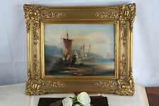 19th c French Marine coast Normandy Porterin Poittevin letter back Oil on canvas