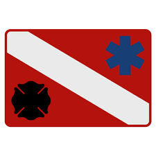 "Dive Flag Maltese Cross Star of Life Small Reflective Helmet Decal (2"" x 3"")"