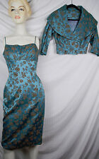 Vintage 50s Fitted Hourglass Brocade Dress w Matching Crop Jacket Bombshell