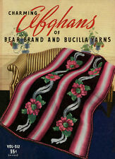 Bear Brand #312 c.1939 Colorful Patterns to Make Vintage Crochet Afghans REPRO