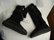 BNWT Older Girls Sz 1 Black Rivers Doghouse Long Knit Slipper Boots RRP $50